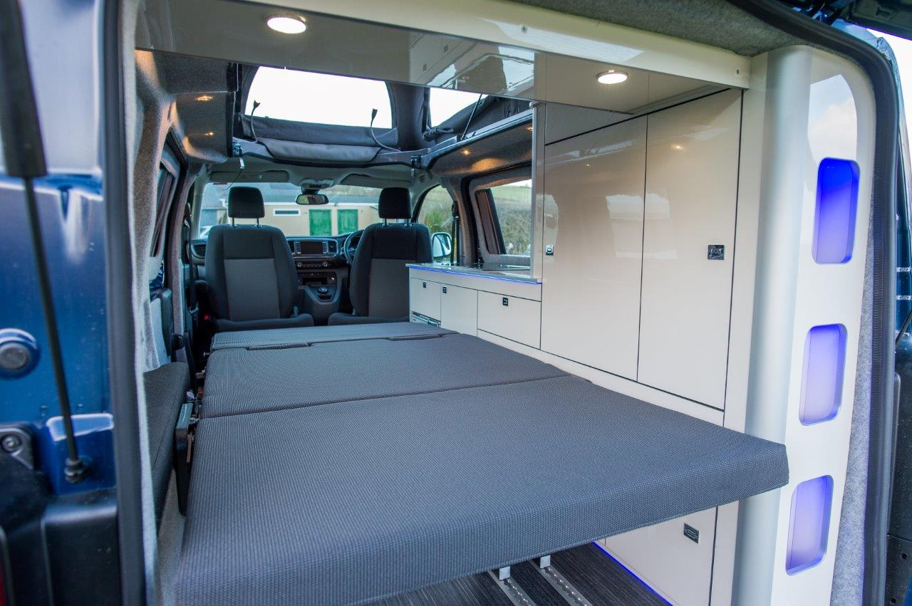 Photo of rear interior, double bed fully extended